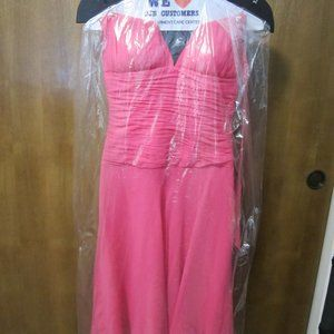 Lovely Pink SZ6 Cache Silk Halter Dress EUC